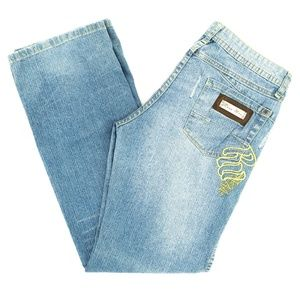 RocaWear Jeans Distressed Embroidered Low Rise 9